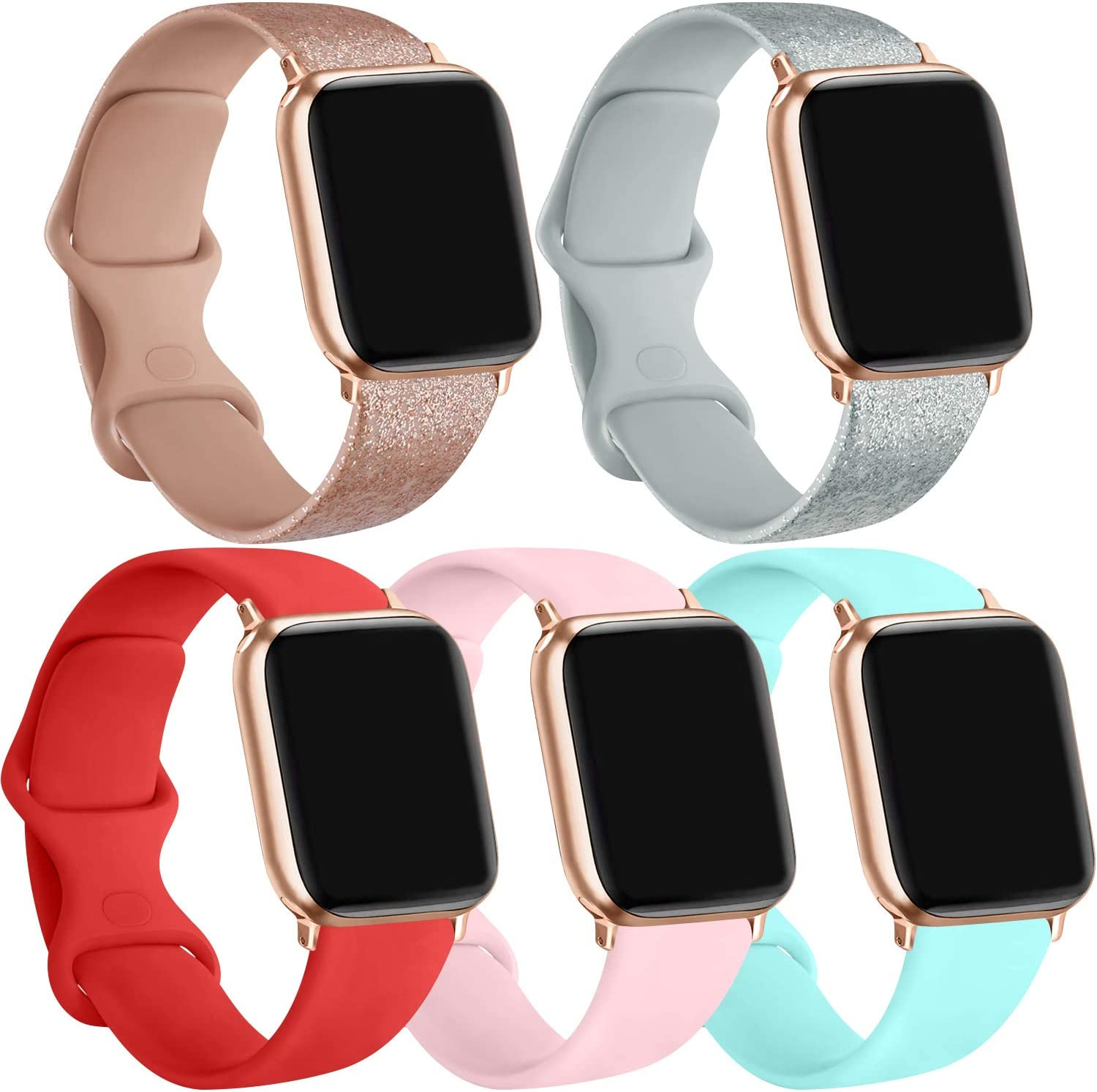 [5 Pack] Silicone Bands Compatible for Apple Watch Bands 38mm 40mm, Sport Band Compatible for iWatch Series 6 5 4 3 SE(Light Blue/Shine Rosegold/Shine Silver/Orange red/Pink, 38mm/40mm-M/L)