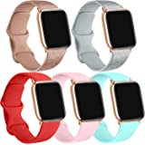 [5 Pack] Silicone Bands Compatible for Apple Watch Bands 42mm 44mm, Sport Band Compatible for iWatch Series 6 5 4 3 SE…