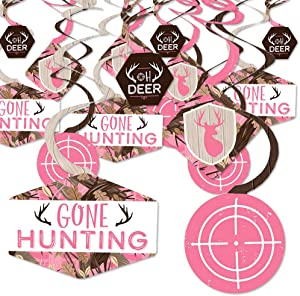 Pink Gone Hunting - Deer Hunting Girl Camo Baby Shower or Birthday Party Hanging Decor - Party Decoration Swirls - Set of 40