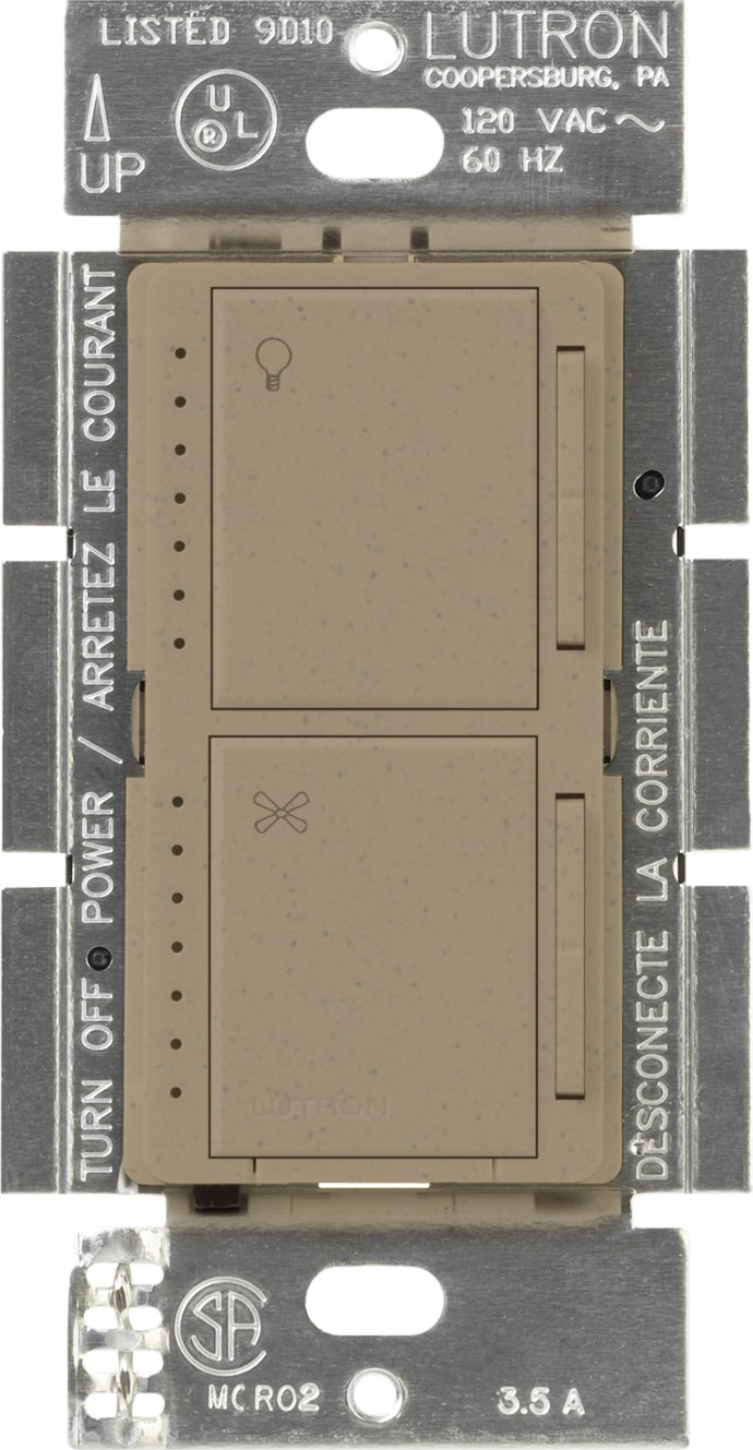 Lutron MA-LFQM-MS Maestro 300-Watt Multi-Location Digital Dimmer 1-Amp Quiet Fan Control with Canopy Module, Mocha Stone