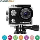 FLOUREON Caméra Sport Etanche 4K/1080P Action Cam 16MP Ultra-HD, 2 Pouces LCD, Sport DV 170 °Grand-Angle,30m Max 2 Batterie Rechargeable, Support WiFi à Distance sur Android