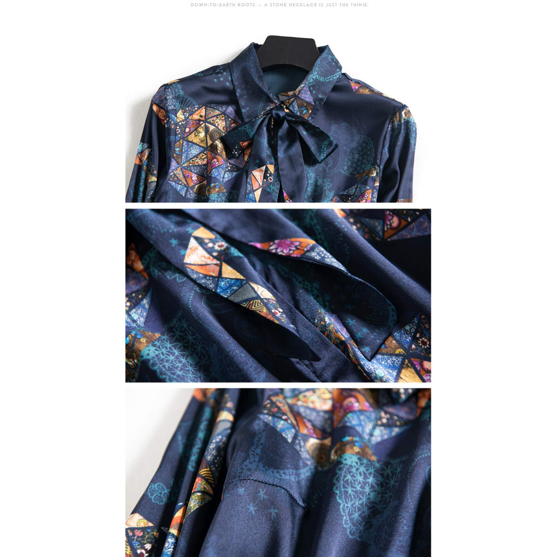 QYQCX Star Print Silk Long Sleeve Shirt Chic Blouse Womens Lace Bow Top