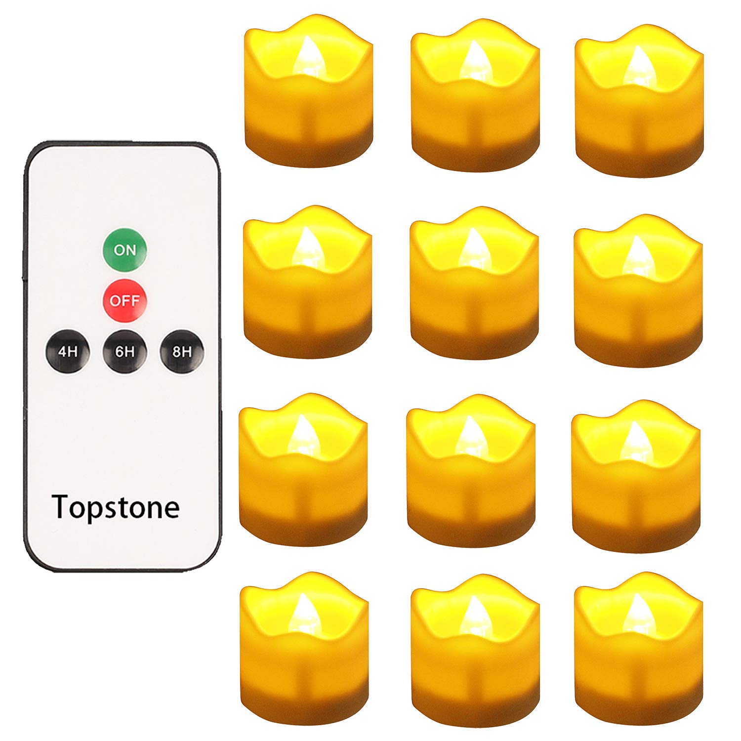 Topstone Remote contorl Tealights with Timer,Battery Operated Flameless Candle with Flickering Amber Bulb,Electric Tea Light in Wave Open,Best for Holiday Decoration,Wedding,Pack of 12