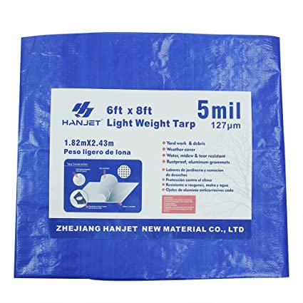 Hanjet Lightweight Outdoor Camping Tarp 6' x 8' 5-mil Waterproof Boat Tarps  Covers with Grommets Blue