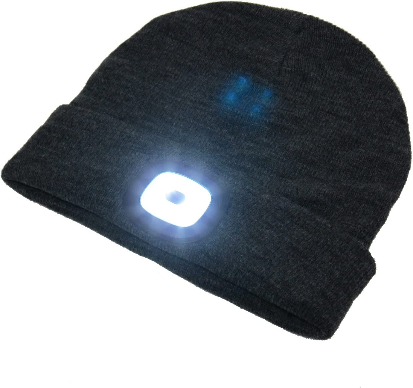 BEAMie Hat with Built-in Rechargeable LED Head Lights, Great for Walking at Night, Dog Walking, Running, Auto-Mechanics, Bikers, Camping