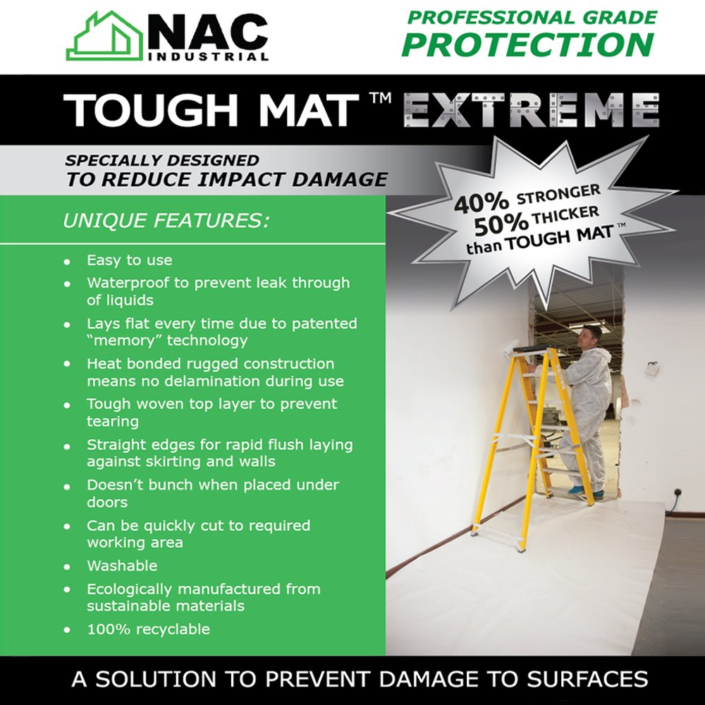 NAC Industrial Extremely Strong & Thick Waterproof Drop Cloth - Tough MAT Extreme – Professional Surface Protection (4 x 16 Feet) by NAC INDUSTRIAL (Image #6)