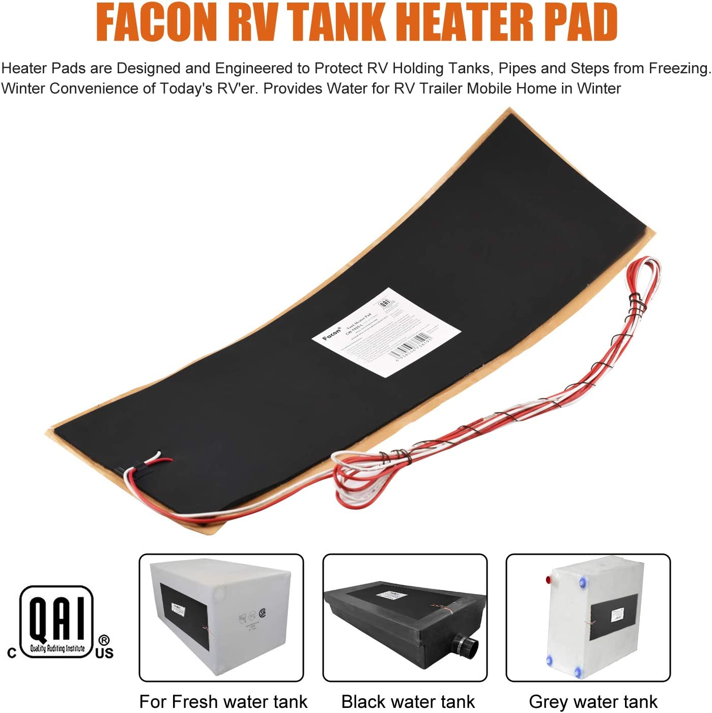 2XNew 12V Silicone Water Holding Tank Heater Pad w// Automatic Thermostat Control
