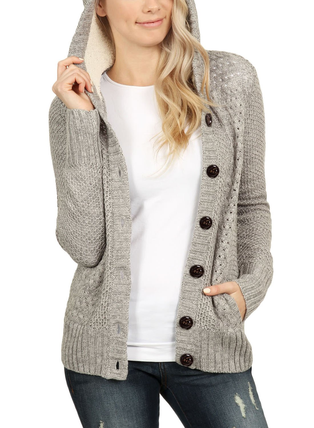 ROSKIKI Womens Button Dowm Hoodie Cardigans with Pockets Autumn Ribbed Knit Open Front Long Sleeve Thick Warm Juniors Pullover Sweater Coats Grey L