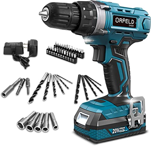 ORFELD Cordless Drill, 20V Drill Driver with 2.0Ah Battery, Built-in LED, 2 Variable Speed, 270 In-lbs Torque, 20 Clutch, 3 8 Metal Keyless Chuck, 43 pcs Accessories, Blue