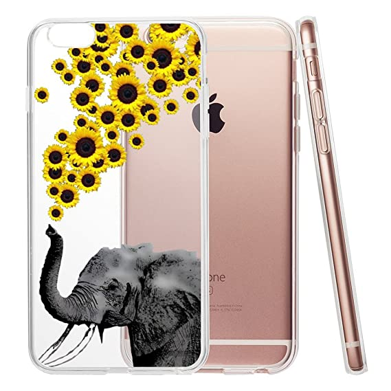 timeless design 62df4 2a09b Elephant and Sunflower Clear Phone Case for iPhone 6 Plus & iPhone 6s Plus  5.5 Customized Design by MERVELLE TPU Clear case [Ultra Slim, ...