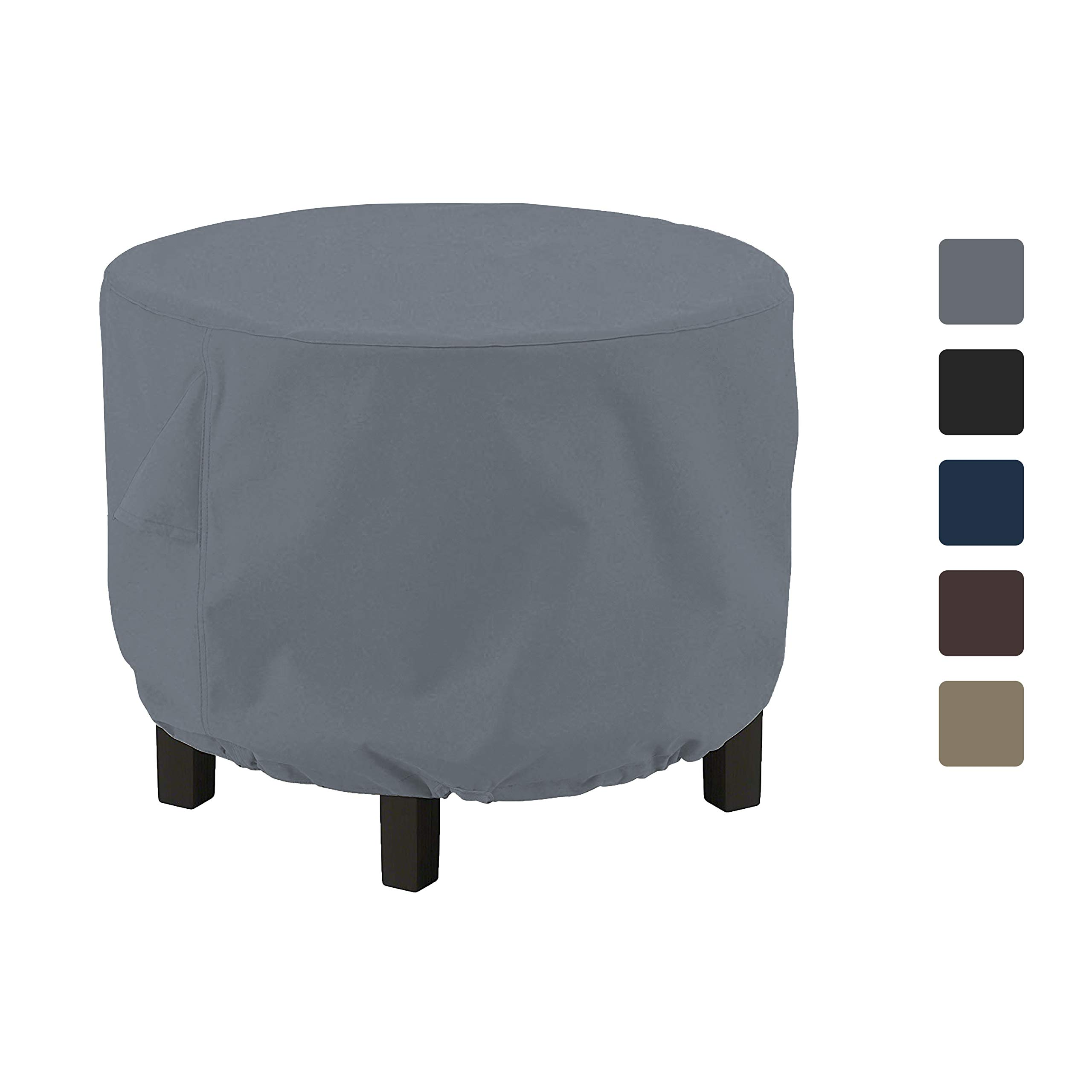 Outdoor Ottoman Cover 12 Oz - Waterproof & Weather Resistant Patio Furniture Covers - Round Ottoman Cover Heavy Duty Fabric with Drawstring for Snug fit (36'' Dia x 24'' H, Grey)