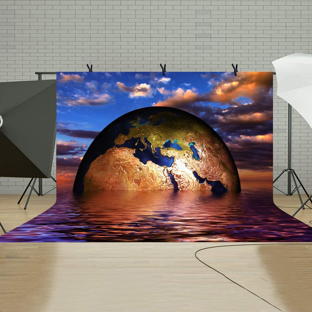 CdHBH 10x7ft Suspended Earth Backdrop Magenta Suspended Earth Fantasy Photography Background and Studio Photography Backdrop Props LYHUI123