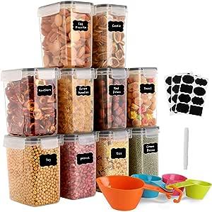 GoMaihe 1.6L Botes Cocina, Juego de 10 Piezas de Recipiente de Botes Cocina Almacenaje de Plástico de Alimentos Sellados con Tapa, Se Utiliza para Almacenar Cereales, Pasta, Arroz, Harina, Etc