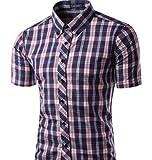 Dragonpad Mens Big & Tall Essential Essential Plaid Open Collar Short Sleeve Slim Shirt Grey XXL