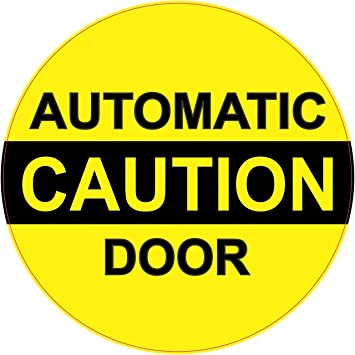 Stickertalk 5in x 5in caution automatic door sticker business sign vinyl decal stickers signs decals