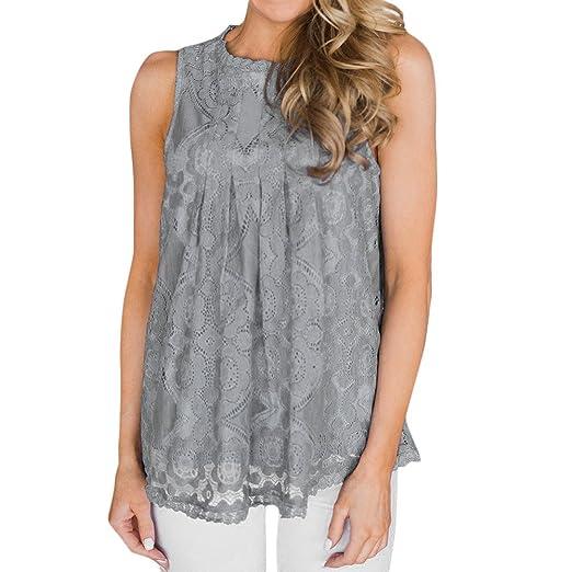 740c437e5ac65 BCDshop Women Lace Floral Sleeveless Tank Tops Elegant Pleated O-Neck Blouse  T Shirt(