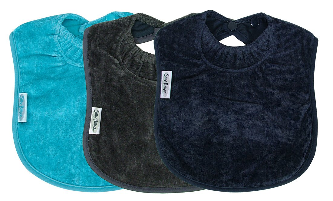 Silly Billyz Premium Toweling Bibs 3-Pack Waterproof with Snuggle Neck Leak Guard - Grey/Navy/Aqua