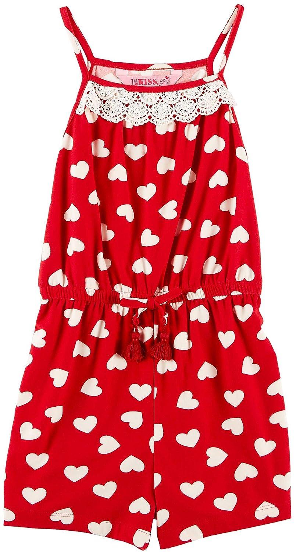 1ST KISS Little Girls Heart Print Lace Trim Romper