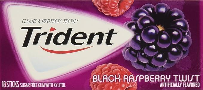 Trident Sugar Free Gum (Black Raspberry Twist, 18-Piece, 12-Pack ...