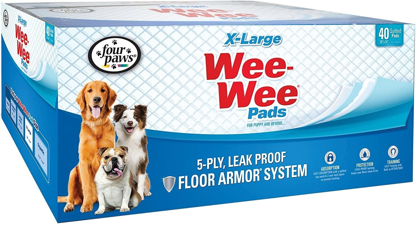 """Wee-Wee Puppy Training Pee Pads 40-Count 28"""" x 34"""" X-Large Size Pads for Dogs : Pet Training Pads : Pet Supplies"""