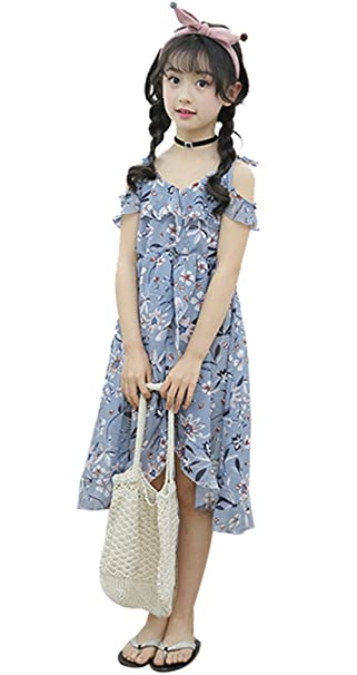 20fa98efaaae Little Girls Spaghetti Strap Off Shoulder Hawaiian Flowers Maxi Beach Dress  Size 4-5 Years