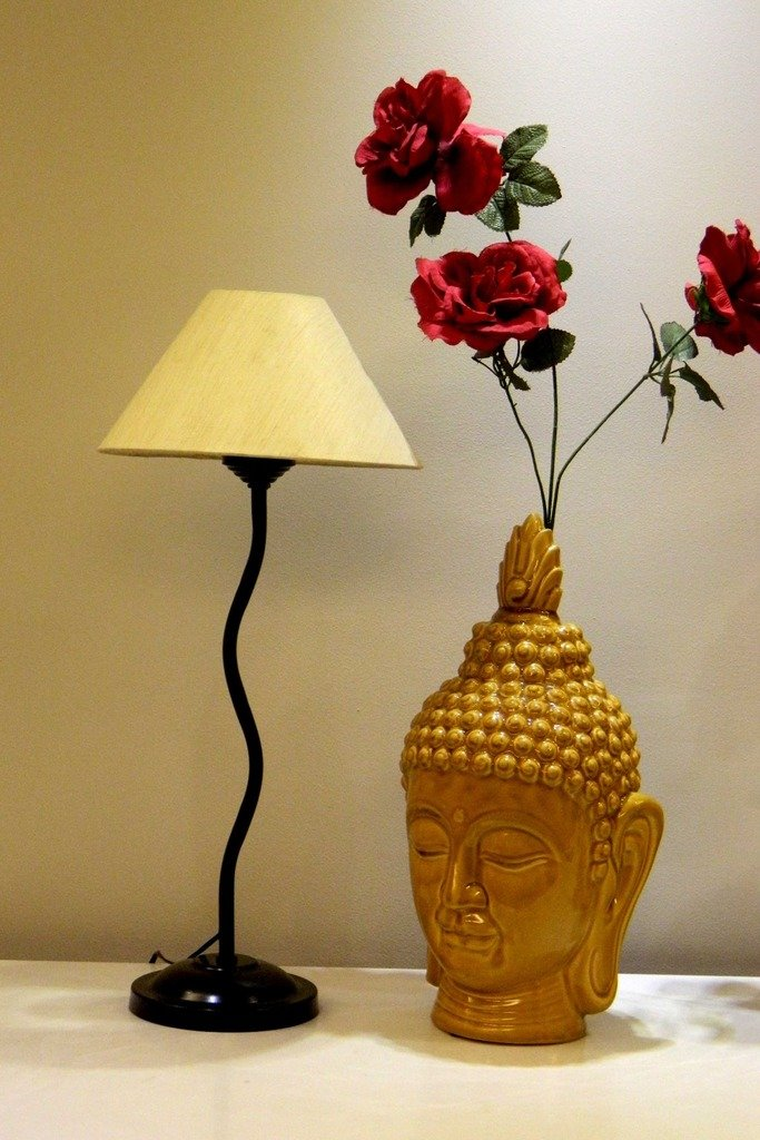 Black Metal Table Lamp with Cotton Fabric Conical Shape