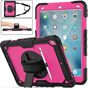 "iPad Air 3 Case, SEYMAC Stock [Full-Body] Drop Proof Armor Case with 360 Rotating Stand [Pencil Holder][Screen Protector] Hand Strap for iPad Air 3 10.5"" 2019/iPad Pro 10.5"" 2017(Rose+Black)"