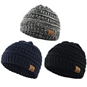 Century Star Christmas Beanie Baby Knit Hat Boys Infant Toddler Beanies Cute Winter Hats for Baby Unisex 3 Pack Black&Dark Grey&Navy