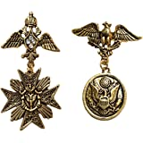 FURE Metal Combo of Flying Eagle and Angelic Brooch for Men and Women (Gold)