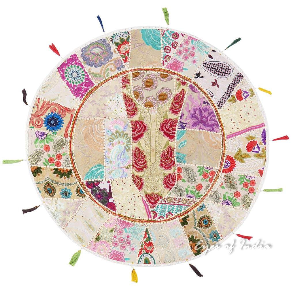 Eyes of India 32 Large White Round Colorful Floor Meditation Cushion Cover Pillow Seating Throw Bohemian Indian Boho De COVER ONLY