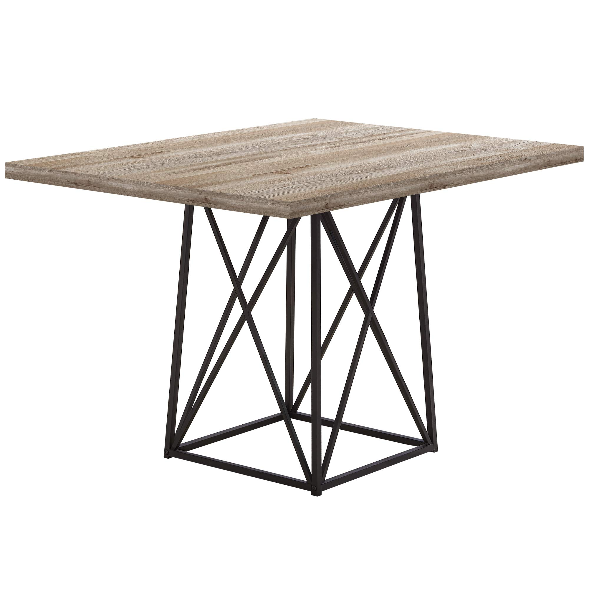 Monarch Specialties I I 1109 36''X 48'' / Taupe Reclaimed Wood-Look/Black Dining Table Metal Base, 36'' x 48'', by Monarch Specialties