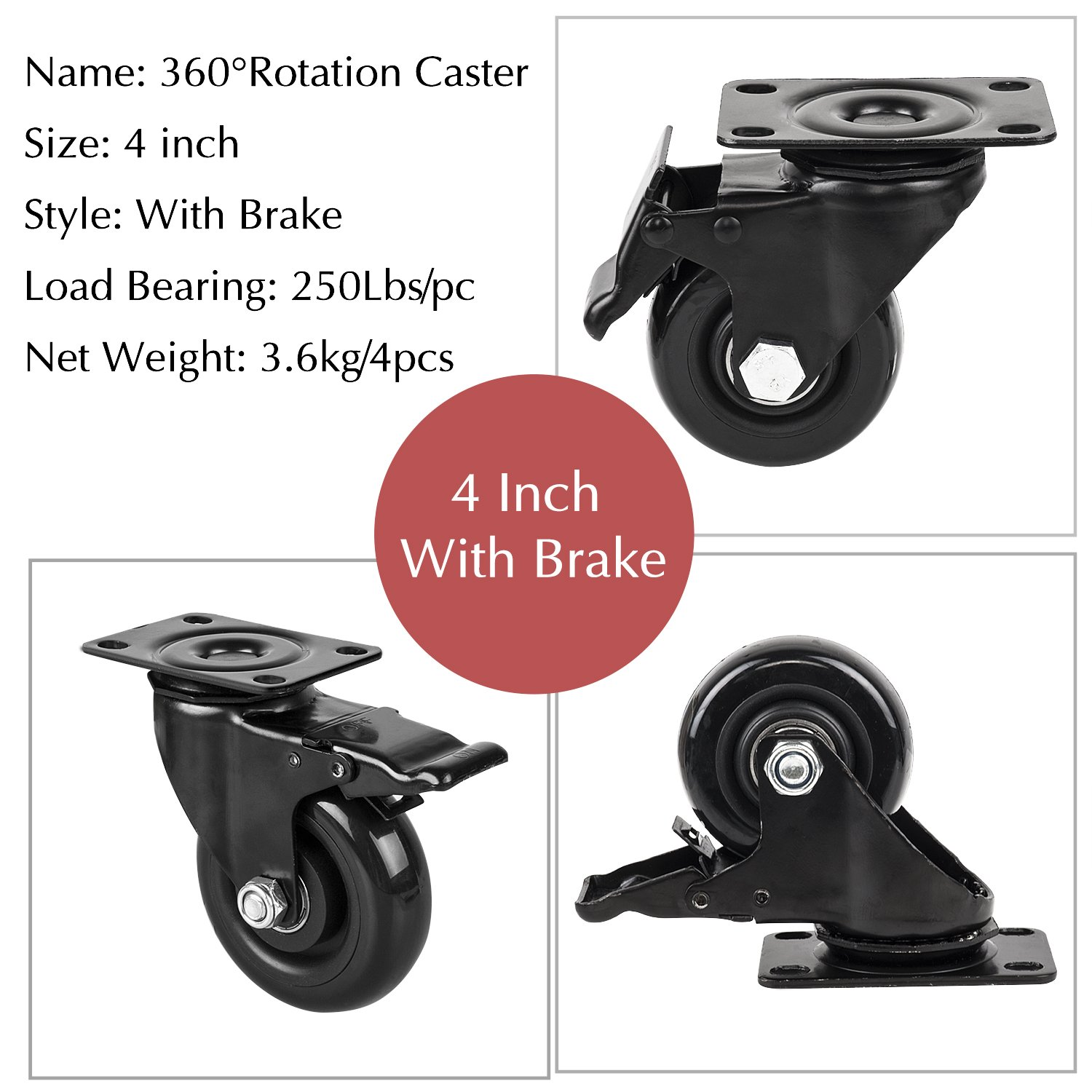 4'' Swivel Plate Caster Wheels, PRITEK Heavy Duty Metal Caster Wheels Lock the Top Plate and the Wheels Replacement for Industrial Trailer or Large Home Furniture (bearing 250lbs each, set of 4) by PRITEK (Image #3)
