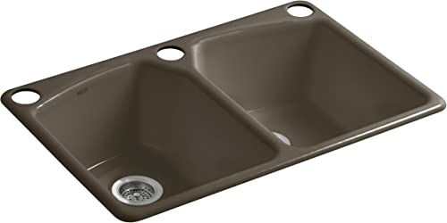 KOHLER K-6491-3U-20 Tanager 33-Inch x 22-Inch Undermount Double-Equal Bowl Kitchen Sink with 3 Oversized Faucet Holes, Suede