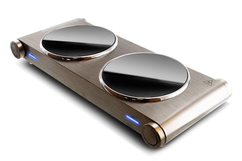 Yoo Digital CY1200 - Cocina portátil con fuegos de vitrocerámica