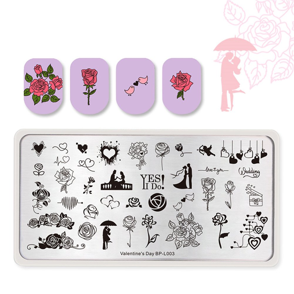 Born Pretty Nail Art Stamping Plates Valentine's Day Theme Love Wedding Couple Gift Heart Manicure Image Plates Valentine's Day BP-L003