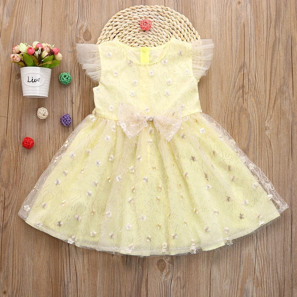 Toddler Kids Baby Girls Clothes Floral Bowknot Sleeveless Princess Dress Outfit