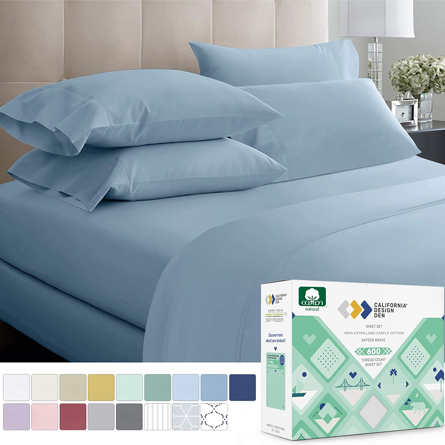 600 Thread Count Best Bed Sheets 100% Cotton Sheets Set Light Grey Extra Long Staple Cotton Queen Sheet For Bed, Fits Mattress 16'' Deep Pocket, Soft & Sateen Weave 4 Piece Sheets and Pillowcases Set: Home & Kitchen