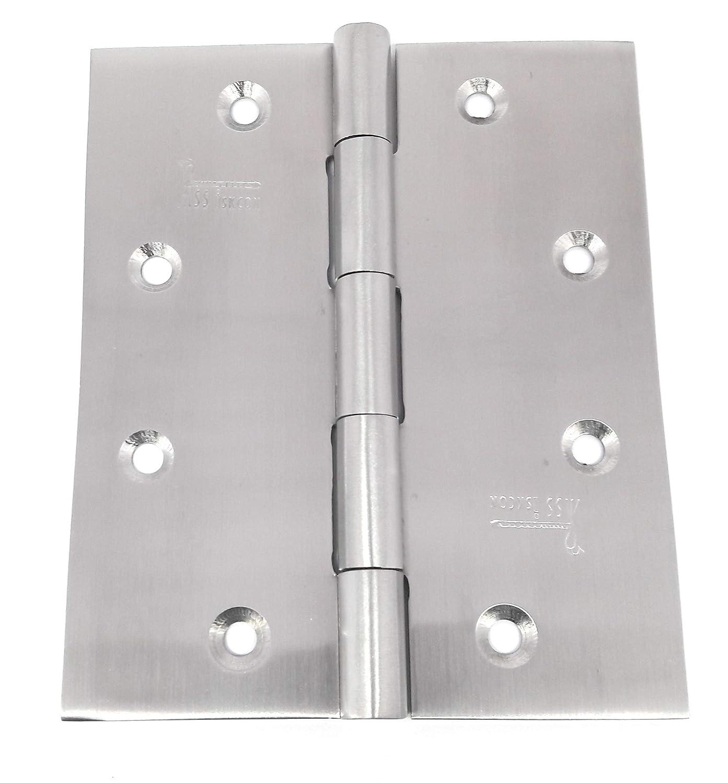 Door Hinges 3pcs 4 5//8 Radius Square Satin Finish 32D Security Pin NRP New Reversible Self Drilling Screws