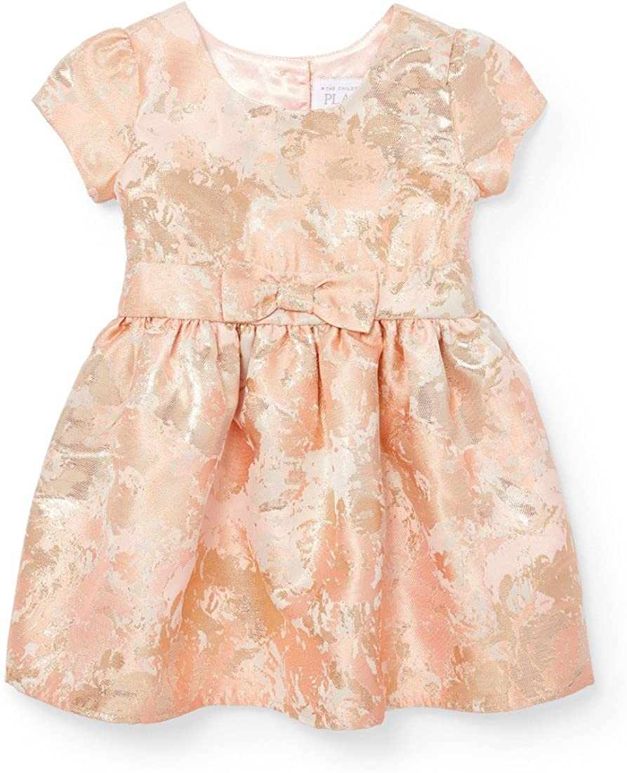 The Childrens Place Baby Girls Gold Bow Jacquard Dress