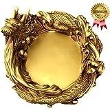 SPJ: Golden Dragon Brass Large Ashtray Antique Modern Design Feng Shui Figurine Statue as Gift for Smoker
