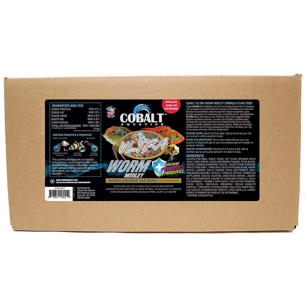 Cobalt Aquatics MODEL-23075 1 Piece Ultra Worm Medley Fish Food, Large 10 lb