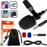 Lavalier Microphone, Professional Lapel Microphone, 3.5mm Omnidirectional Condenser Mic Compatible for iPhone iPad Mac…