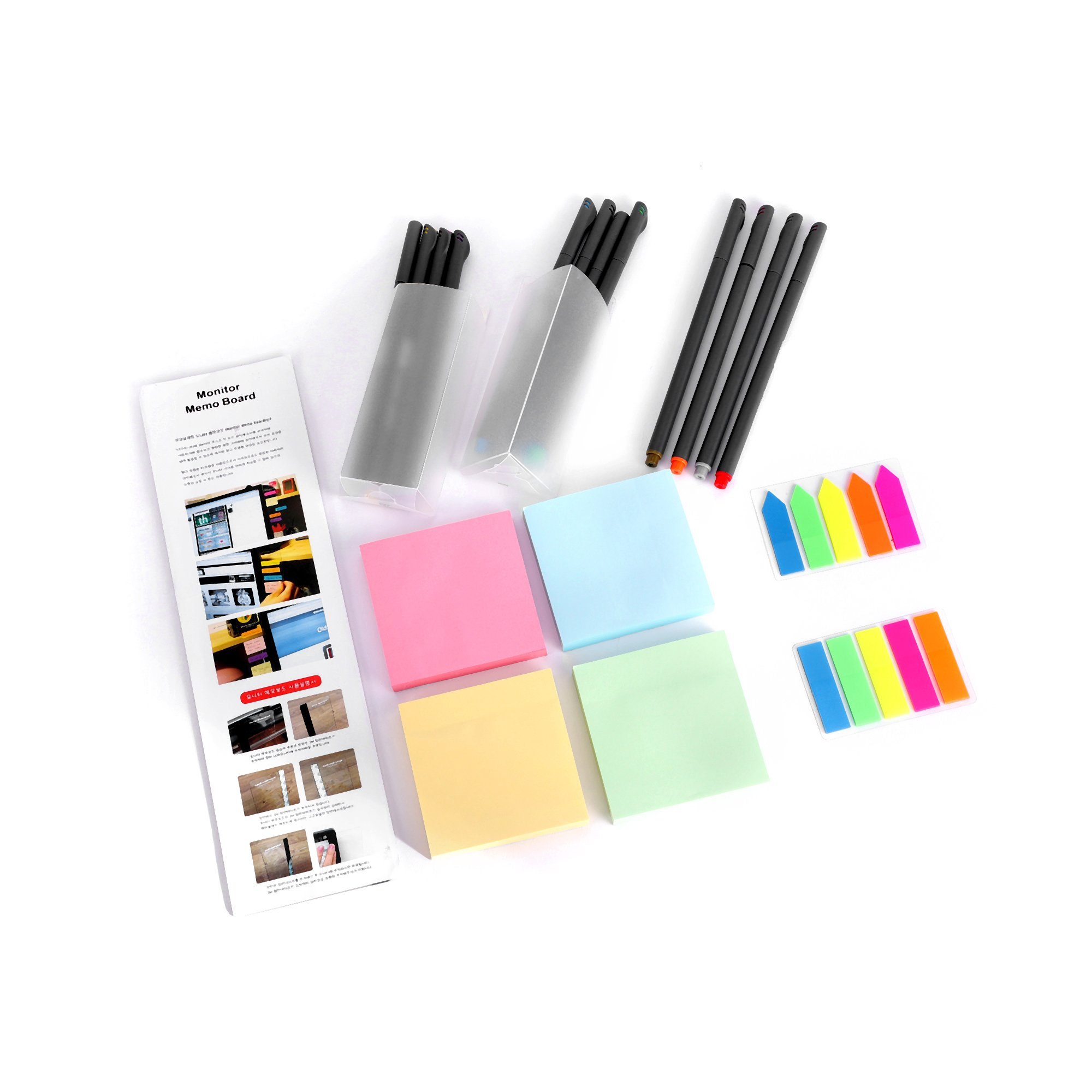 JCT Desktop Supplies Accessories Set Computer Monitors Message Board with Assorted 0.38mm Fineliner Pen and Pencil Holder Sticky Notes Flag Tabs Office Gift