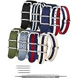 NATO Strap 4/8 Packs - 16mm 18mm 20mm 22mm 24mm Premium Ballistic Nylon Watch Bands Zulu Style for Men Women