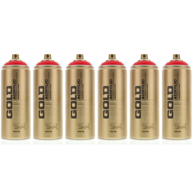 モンタナゴールドアクリルスプレーペイントSilverchrome 2缶パック 6-Cans MXG-F3000-6 B00E6AWUQC 6-Cans レッド(Fire Red) レッド(Fire Red) 6-Cans