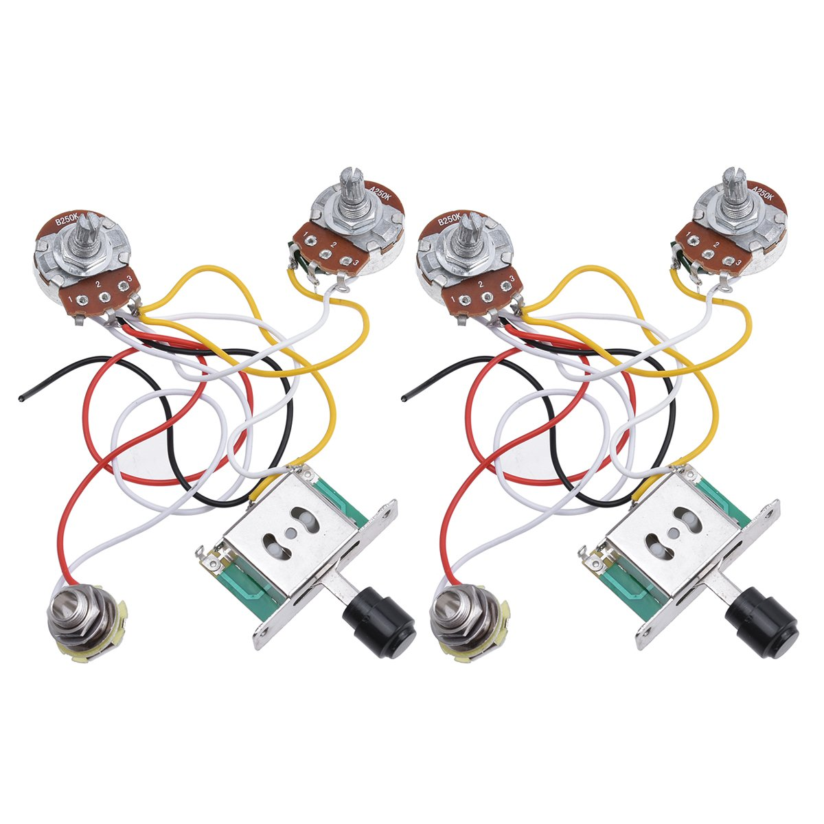 Kmise Prewired Wiring Harness Kit 3 Way Toggle Switch Tele 250k Pots Jack For Fender Telecaster Electric Guitar Parts 2 Set Musical Instruments