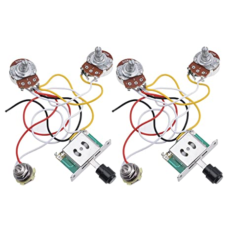 Kmise precableado Cableado Arnés Kit 3 way Toggle Switch Jack de ...