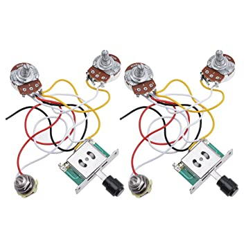 kmise prewired wiring harness kit 3 way toggle switch 250k pots jack rh amazon co uk Standard Telecaster Wiring telecaster wiring harness uk