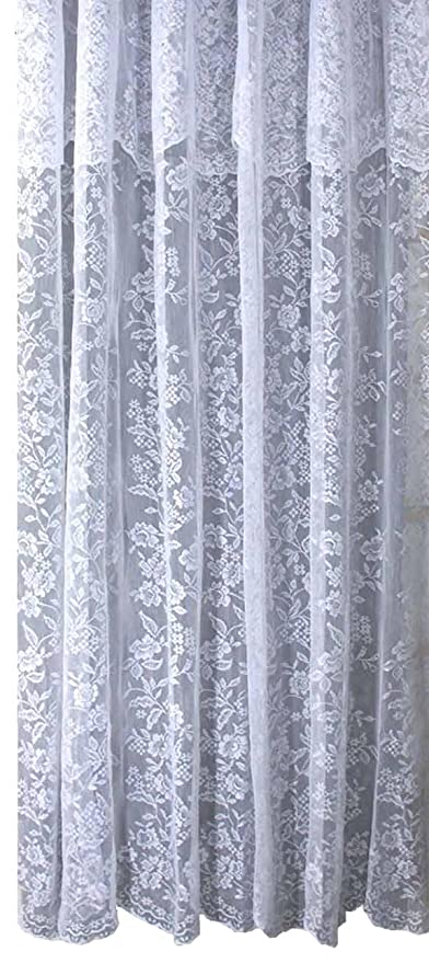 Ricardo Romance Lace Ivory Fabric Shower Curtain With Attached Valance Is 70 Inch Wide