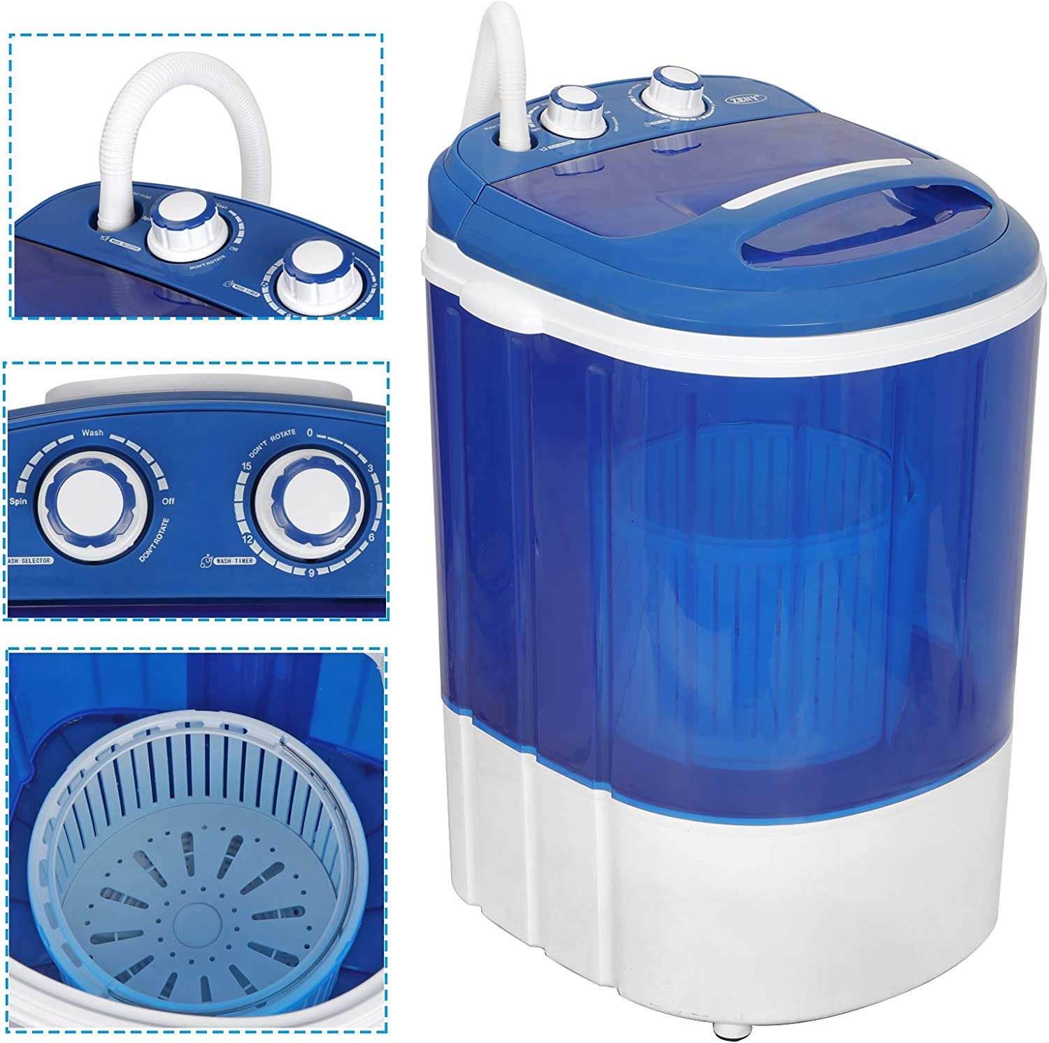 ZENY Portable Mini Laundry Washing Machine Small Semi-Automatic Compact Washer for Apartment,RV,Traveling,Single Translucent Tub